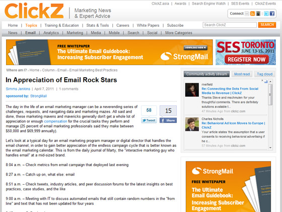Clickz - In Appreciation of Email Rock Stars