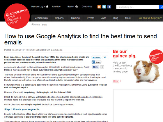 Econsultancy - How to use Google Analytics to find the best time to send emails
