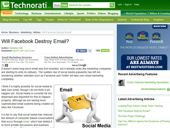 Technorati - Will Facebook Destroy Email?