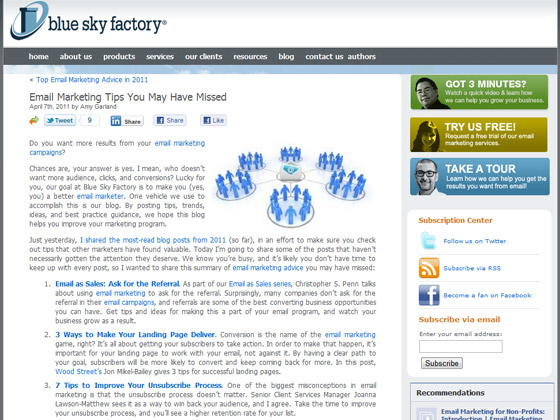 Blue Sky Factory - Email Marketing Tips You May Have Missed