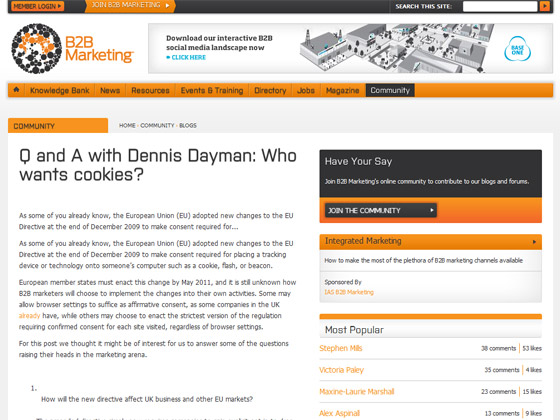 B2B Marketing Q and A with Dennis Dayman: Who wants cookies?