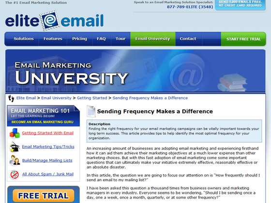 Elite Email - Sending Frequency Makes a Difference