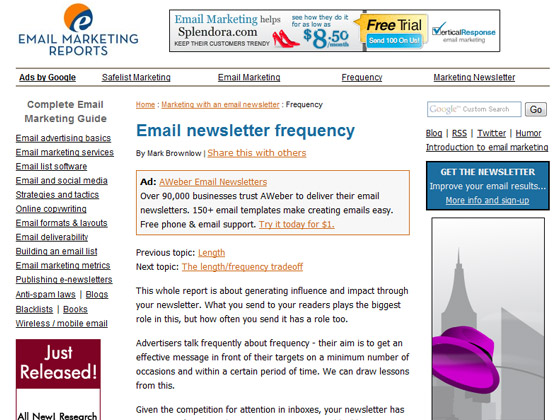 Email-Marketing-Reports -Email newsletter frequency