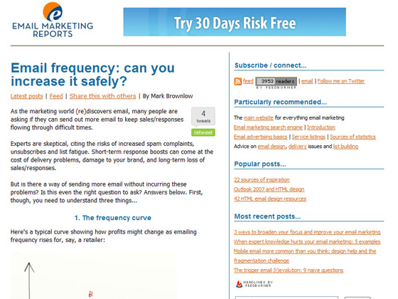 Email Marketing Reports - Email frequency: can you increase it safely?