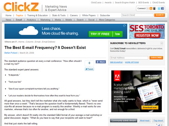 clickz - The Best E-mail Frequency? It Doesn't Exist