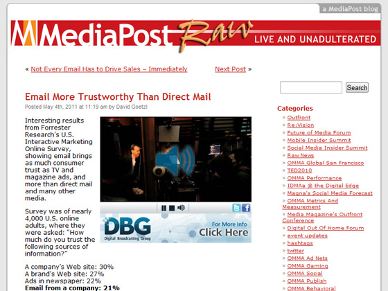 MediaPost - Email More Trustworthy Than Direct Mail