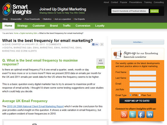 Smart Insights - What is the best frequency for email marketing?
