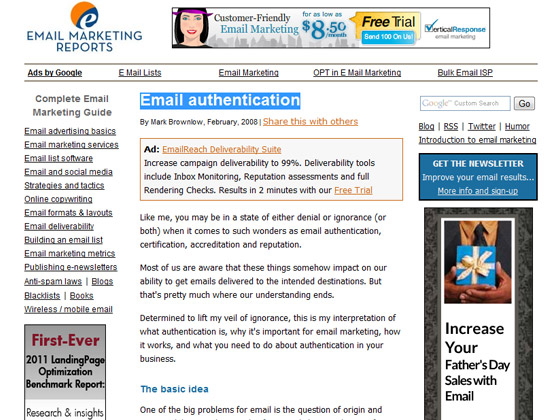 Email Marketing Reports - Email authentication