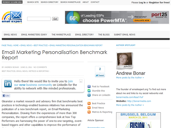 Email Expert - Email Marketing Personalisation Benchmark Report