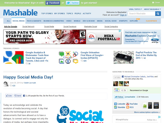 Mashable - Happy Social Media Day