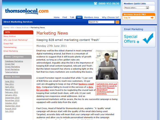 Keeping B2B email marketing content 'fresh'