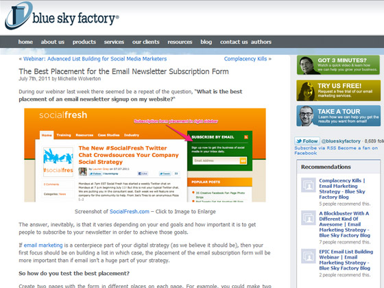 Blue Sky Factory - The Best Placement for the Email Newsletter Subscription Form