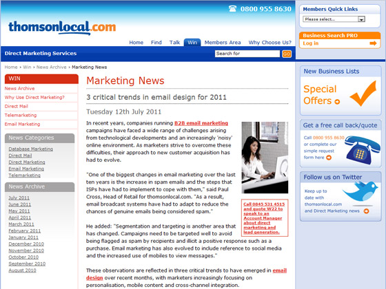 Thomsonlocal - 3 critical trends in email design for 2011