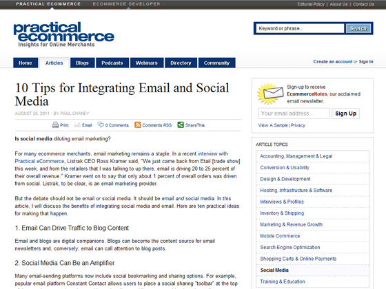 Practical Ecommerce - 10 Tips for Integrating Email and Social Media