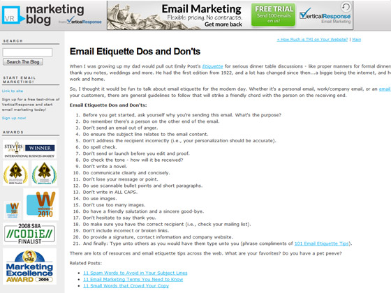 VerticalResponse - Email Etiquette Dos and Don'ts