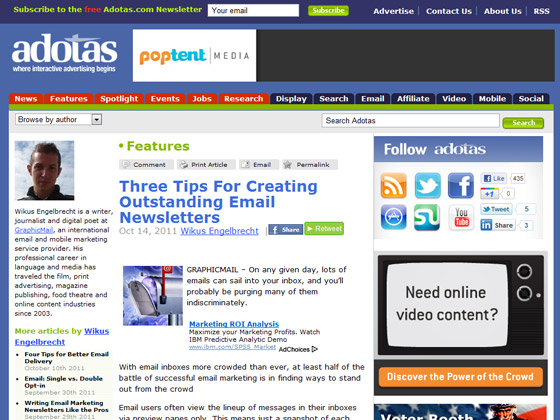Adotas - Three Tips For Creating Outstanding Email Newsletters