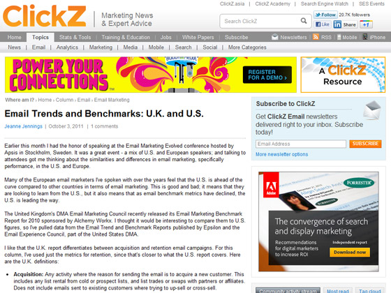 Clickz - Email Trends and Benchmarks: U.K. and U.S.
