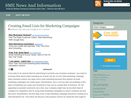SME - Creating Email Lists for Marketing Campaigns