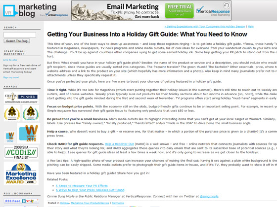 VerticalResponse - Getting Your Business Into a Holiday Gift Guide: What You Need to Know
