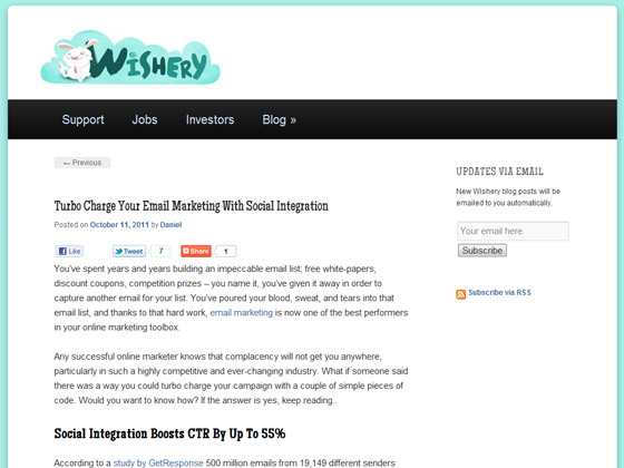 Wishery - Turbo Charge Your Email Marketing With Social Integration