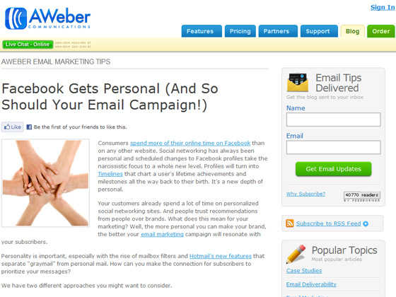 AWeber - Facebook Gets Personal (And So Should Your Email Campaign!)