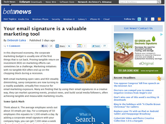 BetaNews - Your email signature is a valuable marketing tool
