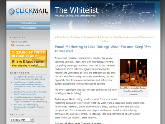 ClickMail - Email Marketing is Like Dating: Woo 'Em and Keep 'Em Interested