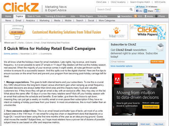 Clickz - 5 Quick Wins for Holiday Retail Email Campaigns