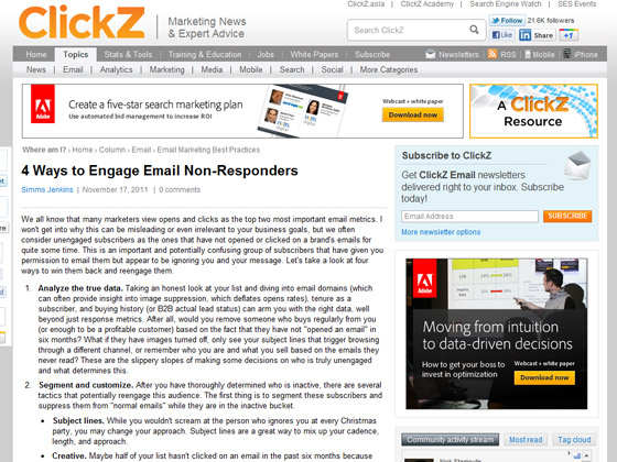 Clickz - 4 Ways to Engage Email Non-Responders