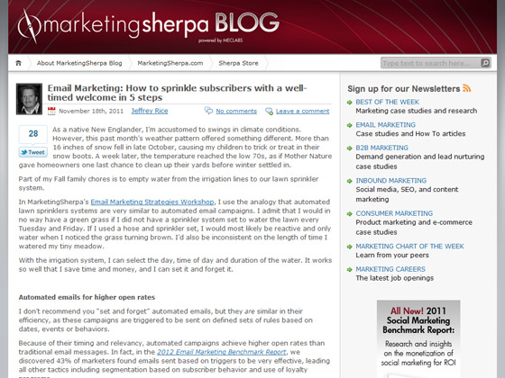 MarketingSherpa - Email Marketing: How to sprinkle subscribers with a well-timed welcome in 5 steps