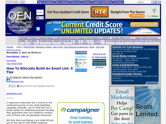 OpEdNews - How To Ethically Build An Email List: 5 Tips