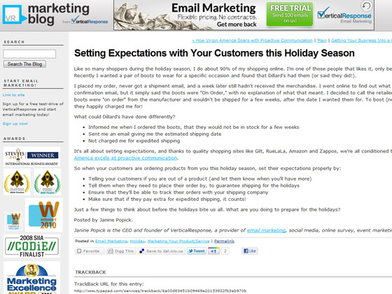 VerticalResponse - Setting Expectations with Your Customers this Holiday Season