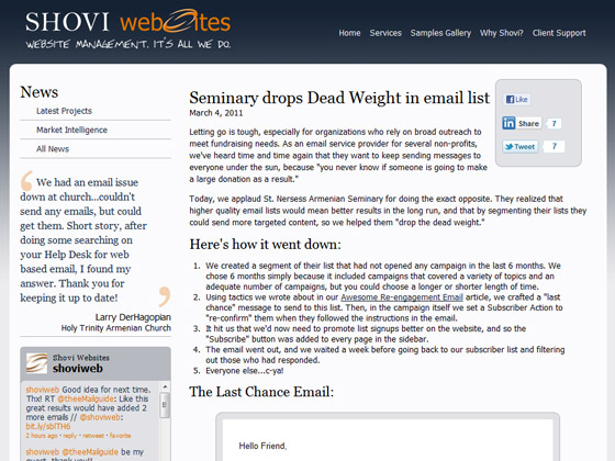 Shovi Websites - Seminary drops Dead Weight in email list