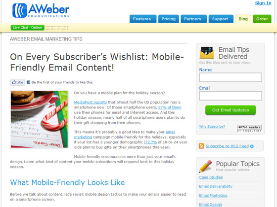 AWeber - On Every Subscriber's Wishlist: Mobile-Friendly Email Content!