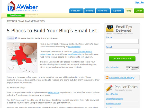 AWeber - 5 Places to Build Your Blog's Email List
