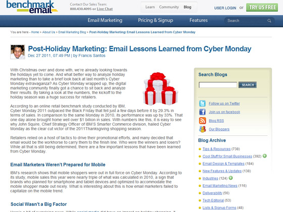 Benchmark Email - Post-Holiday Marketing: Email Lessons Learned from Cyber Monday