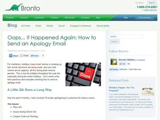 Bronto - Oops... It Happened Again: How to Send an Apology Email