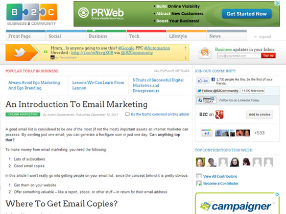 Business 2 Community - An Introduction To Email Marketing
