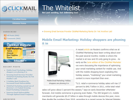 ClickMail - Mobile Email Marketing: Holiday shoppers are phoning it in
