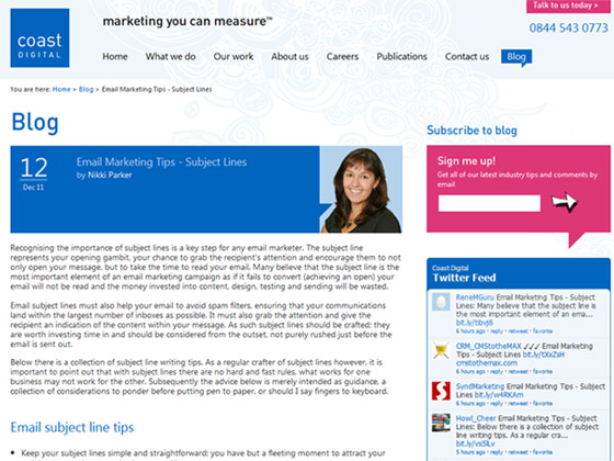 Coast Digital - Email Marketing Tips - Subject Lines