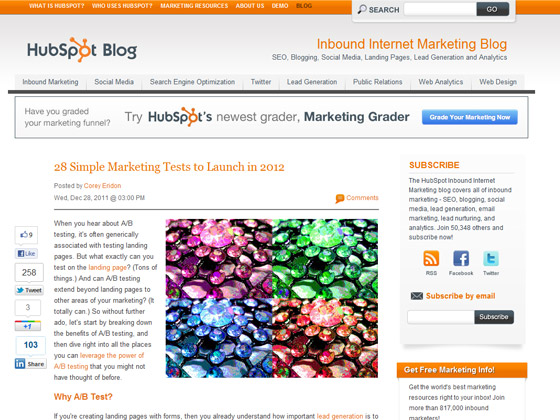 HubSpot - 28 Simple Marketing Tests to Launch in 2012