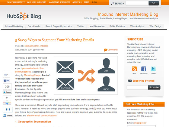 HubSpot - 5 Savvy Ways to Segment Your Marketing Emails
