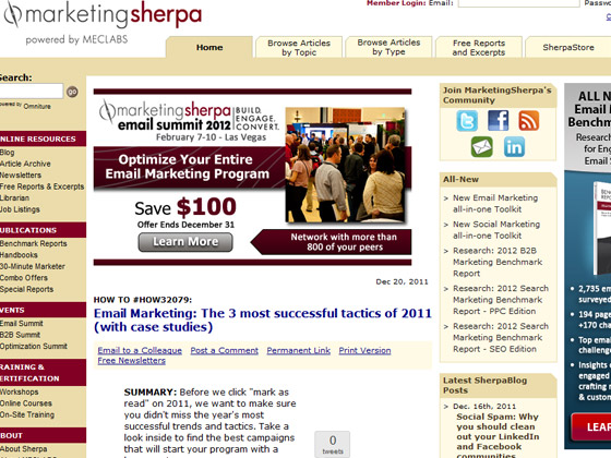 MarketingSherpa - Email Marketing: The 3 most successful tactics of 2011 (with case studies)