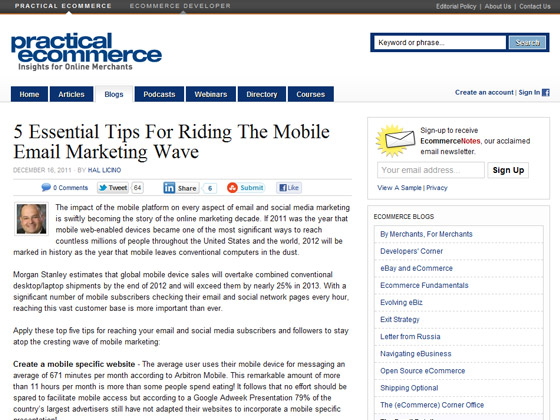Practical eCommerce - 5 Essential Tips For Riding The Mobile Email Marketing Wave
