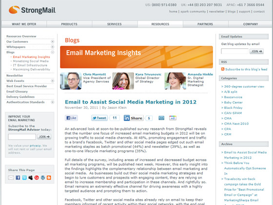 StrongMail - Email to Assist Social Media Marketing in 2012