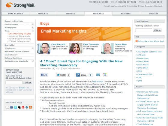 StrongMail - 4 *More* Email Tips for Engaging With the New Marketing Democracy