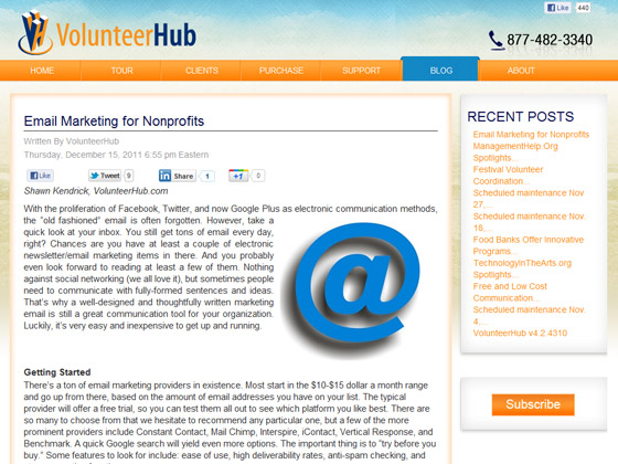 Volunteer Hub - Email Marketing for Nonprofits