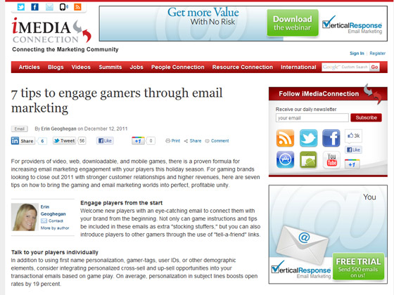 iMedia Connection - 7 tips to engage gamers through email marketing