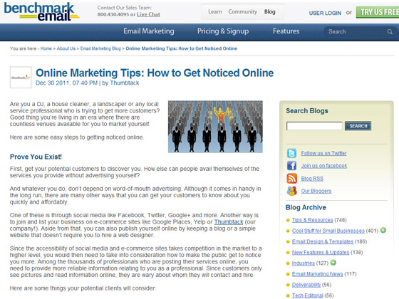 Benchmark Email - Online Marketing Tips: How to Get Noticed Online