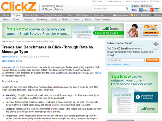 Clickz - Trends and Benchmarks in Click-Through Rate by Message Type